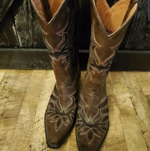 Brown Stetson Cowboy Boots Mens 8.5 or Womens 10